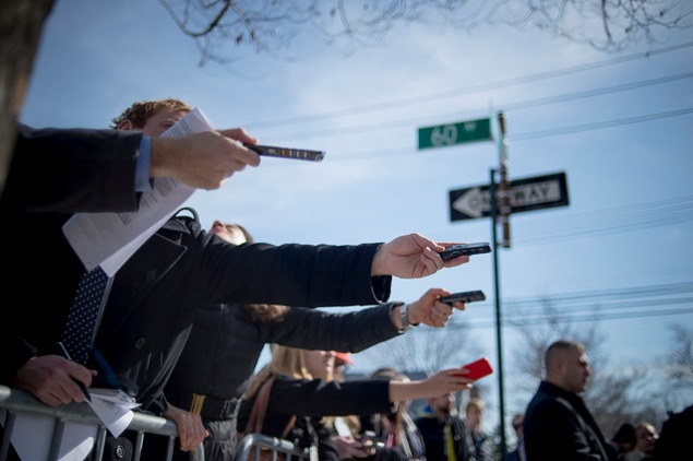 Media covering a Mayor Bill de Blasio event in Queens. (Photo: NYC Mayor's Office)