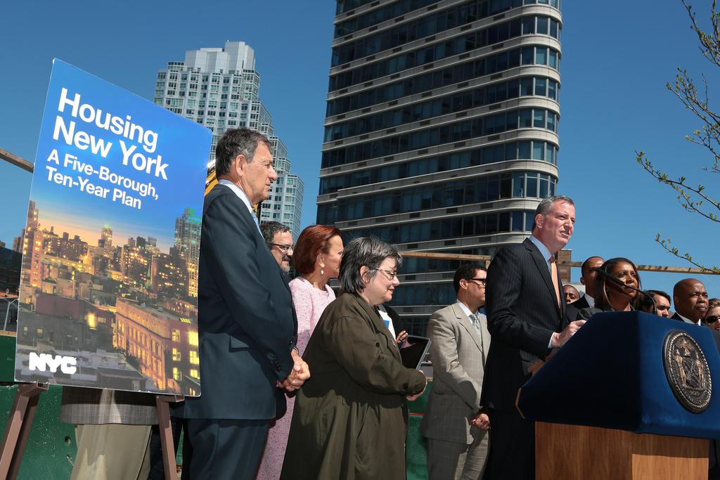 Mayor Bill de Blasio unveiling his housing plan on Monday. (Photo: Ed Reed for the Office of Mayor Bill de Blasio)