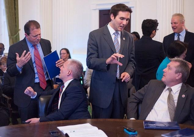Members of the Progressive Caucus discuss Mayor Bill de Blasio's budget. (Photo: NYC Council/William Alatriste)