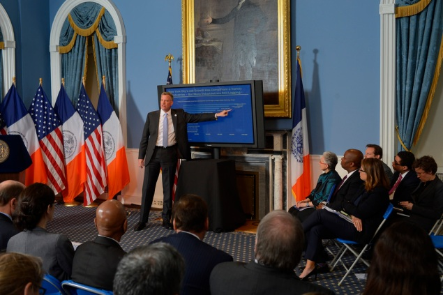 Mayor Bill de Blasio giving his Executive Budget address. (Photo: Rob Bennett/NYC Mayor's Office)