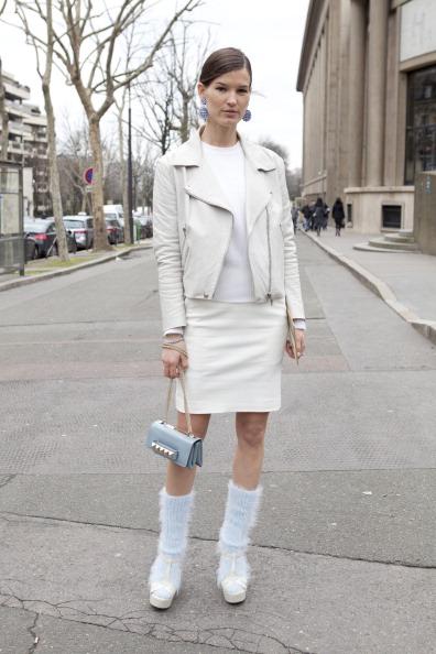 At Paris Fashion Week in 2012, Hanneli Mustaparta wore her Miu Miu sandals with socks knitted by her boyfriend's mum. (Kirstin Sinclair/Getty)
