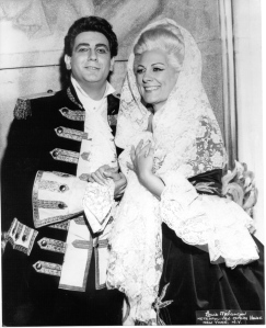 Plácido Domingo and Renata Tebaldi in Adriana Lecouvreur at the Met, 1968.  Photo credit: Louis Mélançon/Metropolitan Opera.