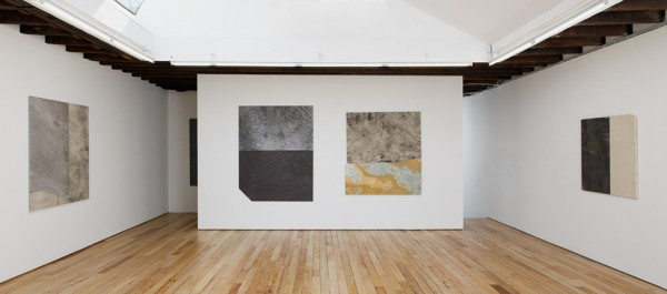 Installation view of Moyer's marble and fabric works at Uffner. (Courtesy Rachel Uffner Gallery)