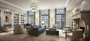 A living room in one of the Atterbury mansion condos.