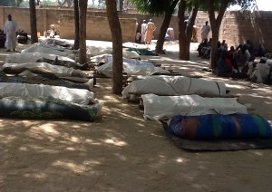 Bodies are laid out for burial in Konduga, in northeastern Nigeria, following a Boko Haram massacre in February. (Photo: AFP/Getty)