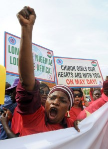 Protesters march in the streets of Abuja on Wednesday May 6, demanding the girls' release.
