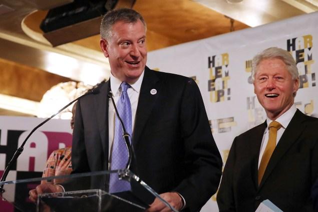 Mayor Bill de Blasio and former president Bill Clinton (Getty Images)