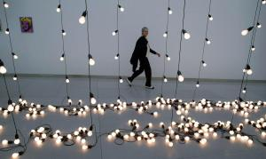 Sturtevant, in Frankfurt, with a Warhol and a Felix Gonzalez-Torres she made.  (Photo by Thomas Lohnes/AFP/Getty Images)