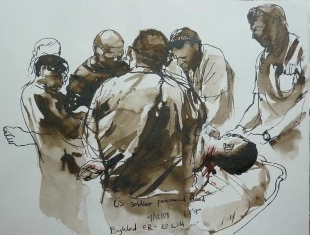 Steve Mumford, Baghdad ER, 2007, Watercolor on paper