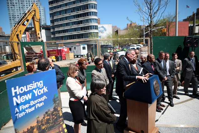 Mayor Bill de Blasio at the announcement of his affordable housing plan. (Photo: Ed Reed/NYC Mayor's Office)