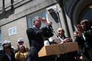 Mayor Bill de Blasio at his Bronx event yesterday. (Photo: Ed Reed/NYC Mayor's Office)
