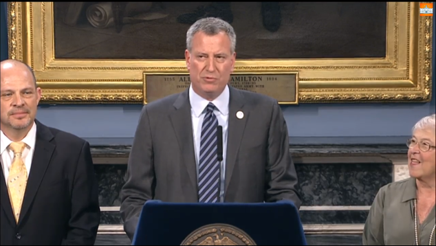 Mayor Bill de Blasio at his first contract agreement, with the United Federation of Teachers.