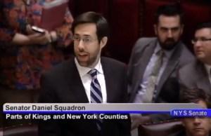State Senator Daniel Squadron speaking against the ticket legislation. (screengrab)