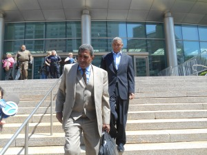 Councilman Ruben Wills walking outside of the Queens courthouse today. (Photo: Ross Barkan)