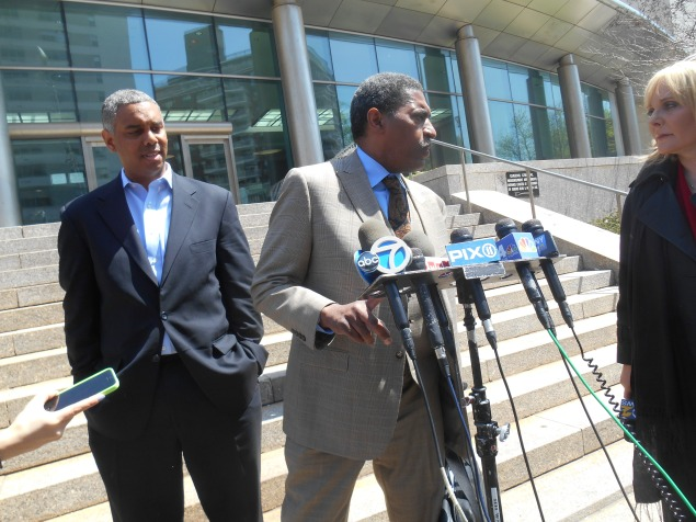 Councilman Ruben Wills and his attorney speaking to the press earlier today.
