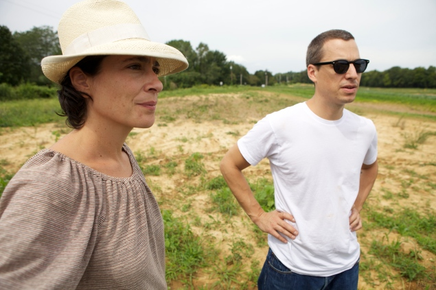 Francine Stephens and Andrew Feinberg of franny's, Marco's, and BKLYN Larder on Bill Maxwell's farm. (John von Pamer)