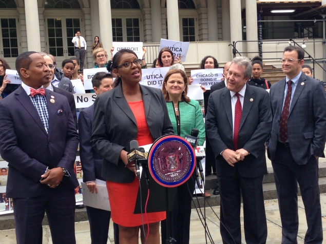 Public Advocate Tish James, surrounded by City Council members, speaks at a rally for universal free lunch. (Photo: Paula Duran)