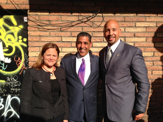 City Council Speaker Melissa Mark-Viverito, Adriano Espaillat and a local official campaigning in East Harlem. (Photo: Paula Duran)