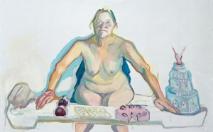 'Madonna of the Pastries' (2001) by Lassnig. (Courtesy the artist, Petzel and Hauser & Wirth)
