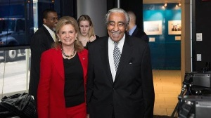 Congresswoman Carolyn Maloney and Congressman Charlie Rangel in a photo attached to the fund-raising invite.