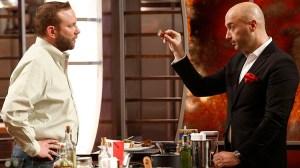 Contestant (L) with restaurateur Joe Bastianich (R).  (Fox)