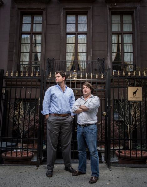 Mr. Brand and Mr. Hucks outside Next Step's Upper East Side office. (Sasha Maslov)
