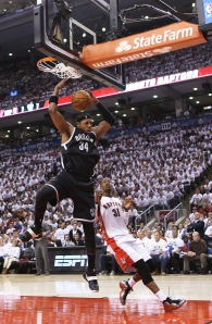 Paul Pierce #34 of the Brooklyn Nets plays against the Toronto Raptors in Game Seven of the NBA Eastern Conference Quarterfinals. (Photo by Claus Andersen/Getty)