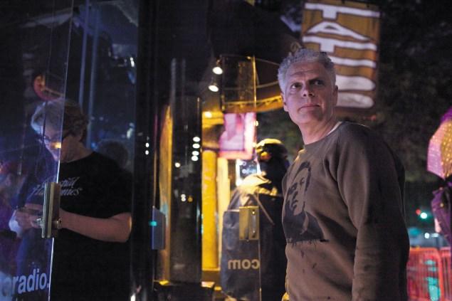 Peter Ferraro, right, outside the East Village Radio studio on 1st Avenue. (Aaron Adler)