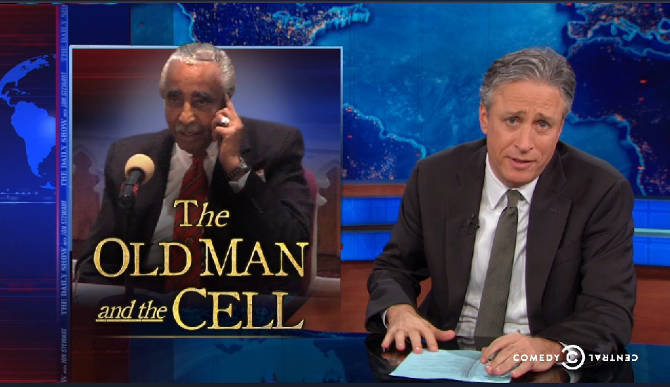 The Daily Show taking on the Rangel call last night. (Photo: thedailyshow.com)