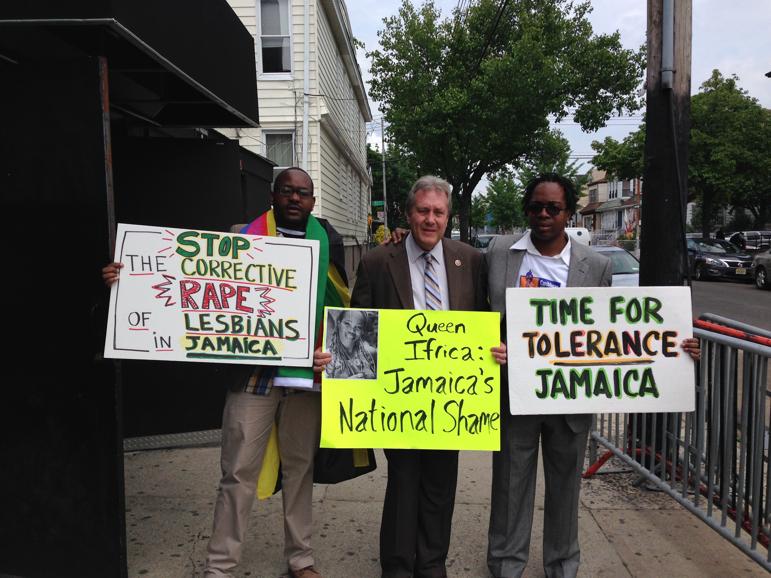 Councilman Daniel Dromm at the protest with Jamaica Anti-Homophobia leaders (Photo: Paula Duran)