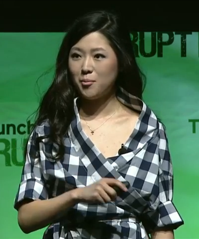 Grace Choi at TechCrunch Disrupt, unveiling the Mink. (Screenshot)