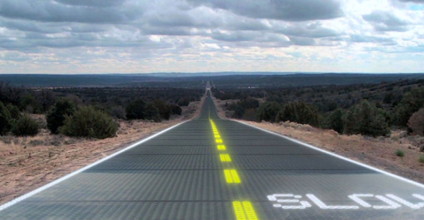 This rendering paints a picture of the obviously imaginary potential for Solar Roadways. (Photo via Solar Roadways)