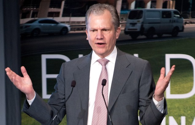 New York Times publisher Arthur O. Sulzberger, Jr. speaks on stage during the 2013 Energy For Tomorrow Conference at The Times Center. (Getty Images)