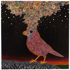 Fred Tomaselli, 'After Nov. 19, 2013,' 2014. (Courtesy the artist/James Cohan Gallery)