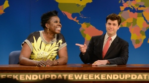 Leslie Jones (left) and Colin Jost. (NBC)