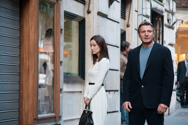 Olivia Wilde and Liam Neeson in Third Person.