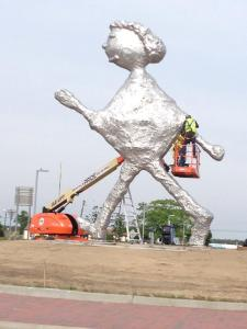 """Westhampton's """"Walking Figure"""" may be first grader's tin foil art project. (Photo: Facebook)"""