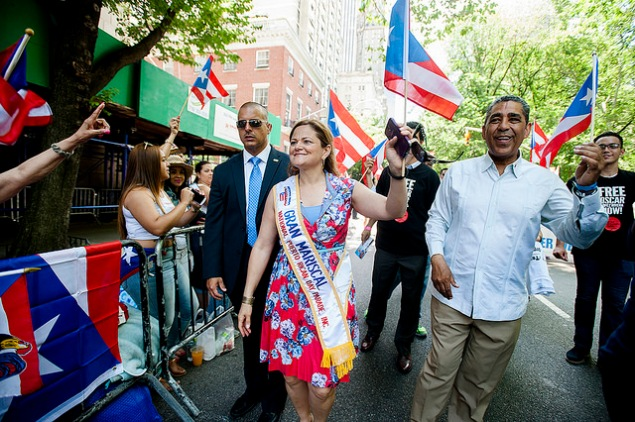 State Senator Adriano Espaillat marching in the Puerto Rican Day Parade with Melissa Mark-Viverito. (Photo: William Alatriste/NYC Council)