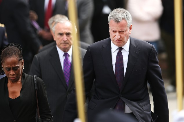 Mayor Bill de Blasio with NYPD Commissioner Bill Bratton. (Photo: Spencer Platt/Getty Images)
