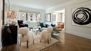 The model unit at 530 Park Avenue, fuzzy chairs optional.