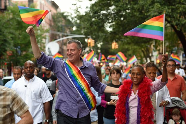 Mayor Bill de Blasio and First Lady Chirlane McCray march in the Brooklyn Pride Parade earlier this month. (Photo: Rob Bennett/Mayoral Photography Office)