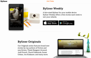 A screenshot displays Byliner's attractive, uncluttered home page
