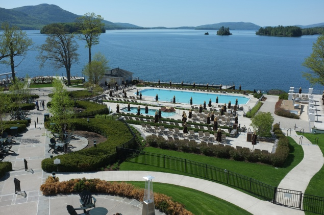 View of Lake George and two hotel pools from the Sagamore's third-floor balcony.