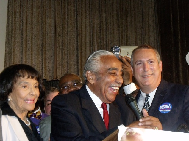 Congressman Charlie Rangel on stage just before declaring victory Tuesday night.