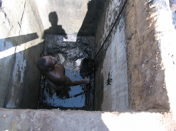 An example of a pit toilet system. (Photo via Wikipedia)