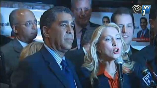 Assemblywoman Gabriela Rosa with ally State Senator Adriano Espaillat and the future mayor, Bill de Blasio in 2012. (Screengrab: NY1)