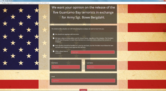 Photo: Screen capture. A survey on Congressman Michael Grimm's campaign website asks voters to weigh in on the Bowe Bergdahl prisoner swap.