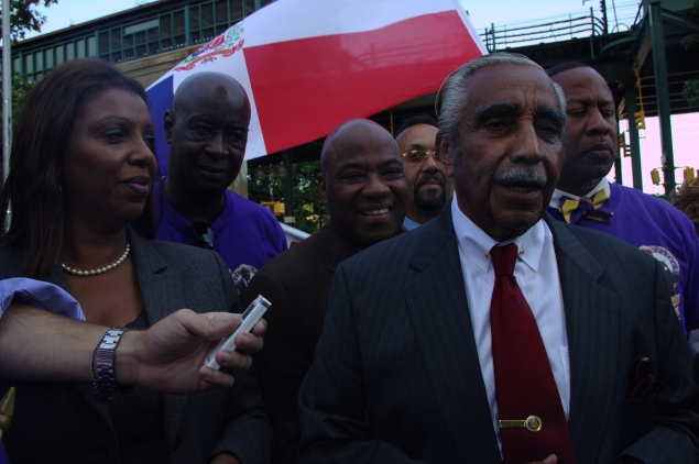 Congressman Rangel and Public Advocate Tish James at the last campaign stop in the Bronx. (Photo: Will Bredderman)
