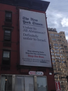A billboard on 40th Street, across the street from the New York Times headquarters in Times Square. (Observer photo)