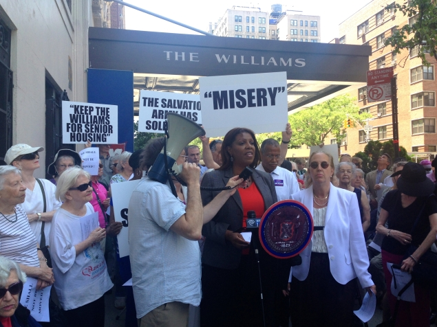 Public Advocate Tish James and other elected officials rallying on the Upper West Side today. (Photo: Paula Duran)